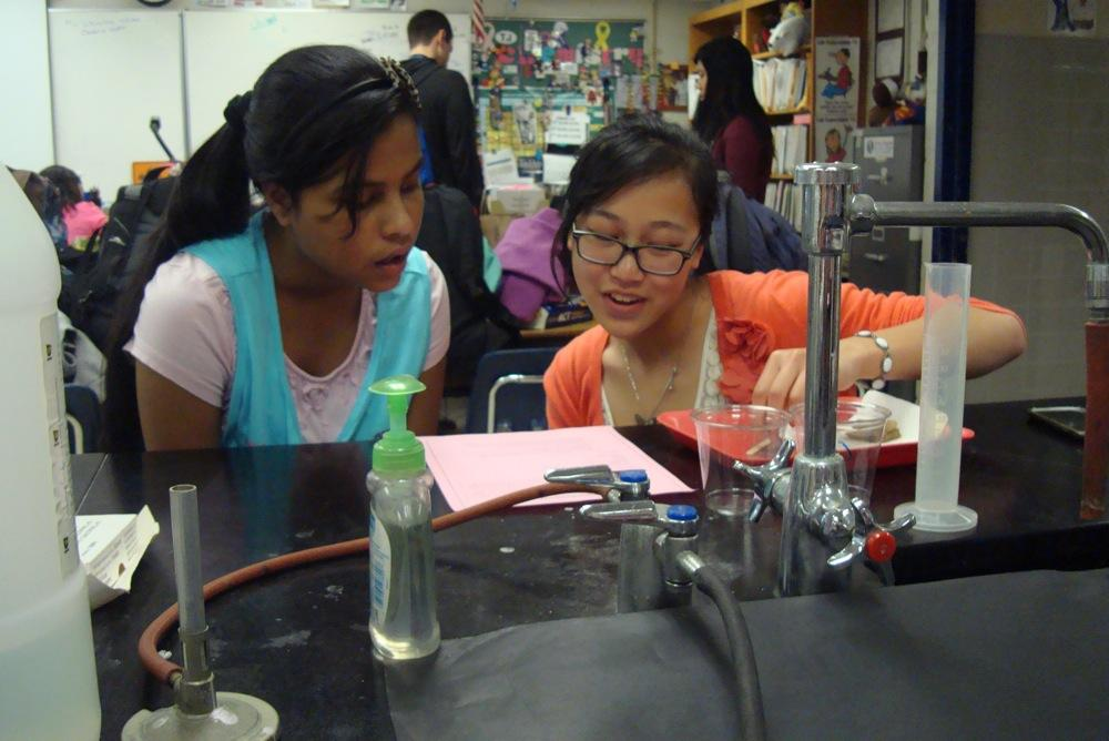 Jefferson students engaged in an osmosis experiment with their partners from Weyanoke Elementary School on April 11.