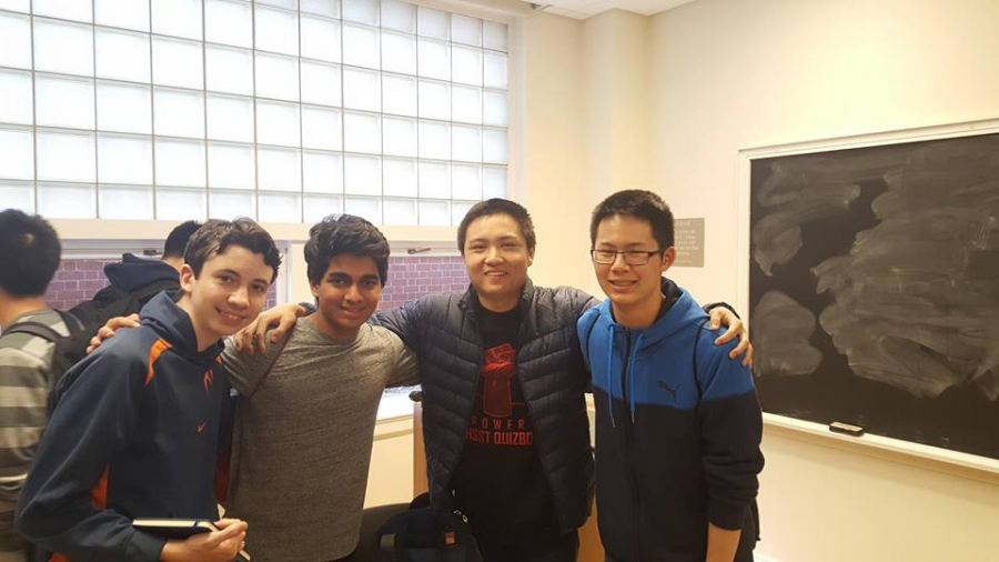 The+Quizbowl+A+team+takes+a+picture+after+winning+the+competition.+%28Left+to+right%29+Alex+Howe%2C+Rohan+Hegde%2C+Fred+Zhang%2C+and+Grant+Li
