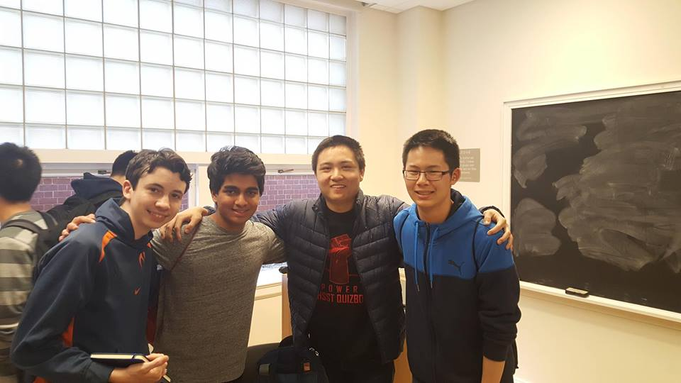 The Quizbowl A team takes a picture after winning the competition. (Left to right) Alex Howe, Rohan Hegde, Fred Zhang, and Grant Li