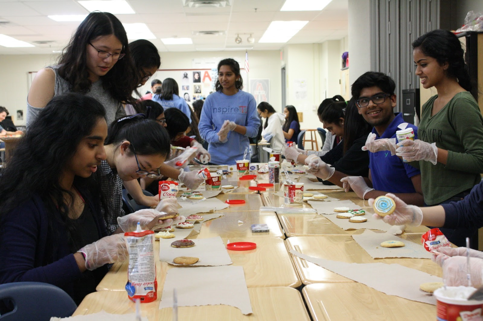Members of the National Honor Society decorate cookies to send to the Annandale Volunteer Fire Department. The event took place on March 29 during eighth period.