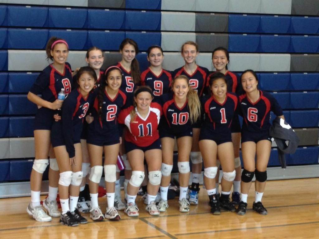 Varsity+volleyball+gathers+for+team+photo+after+tournament