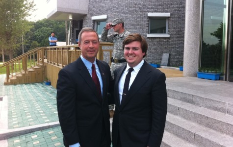 Burdette with Maryland Gov. Martin O'Malley at the DMZ in South Korea.