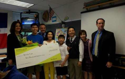 Senior Kevin Cao was surprised during class with a $10,000 scholarship from Nordstrom earlier this year.