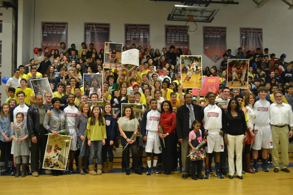 Jefferson families and the Monticello Maniacs celebrate the senior players on the team.