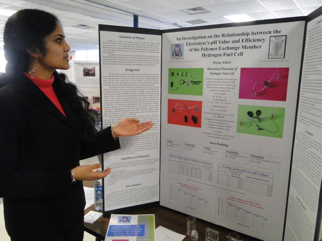 Sophomore+Sreya+Atluri+presents+her+project+at+the+Science+and+Engineering+Fair.