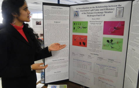 Sophomore Sreya Atluri presents her project at the Science and Engineering Fair.