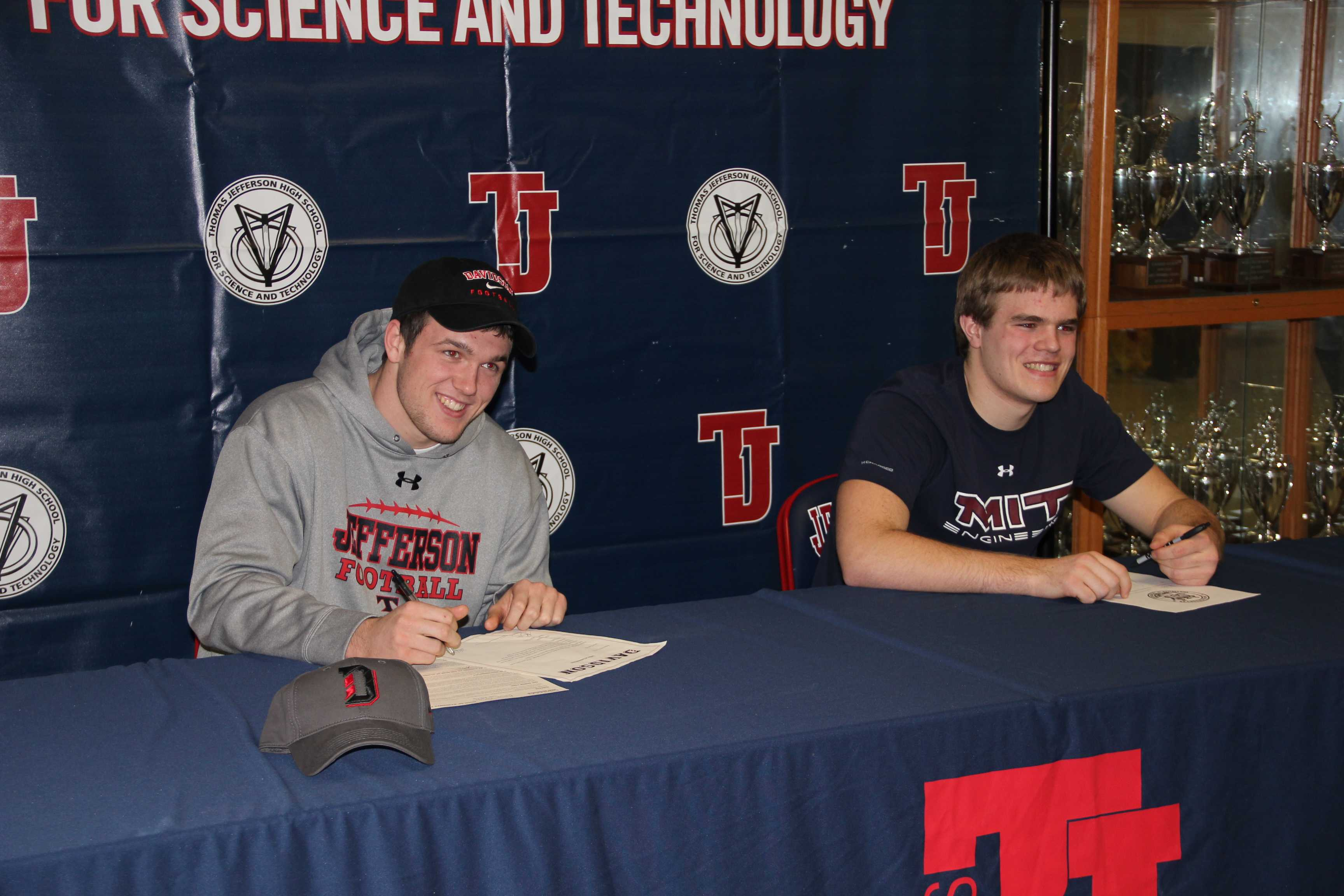 Seniors Jack Brown and Patrick O'Connor agree to play football at MIT and Davidson College.