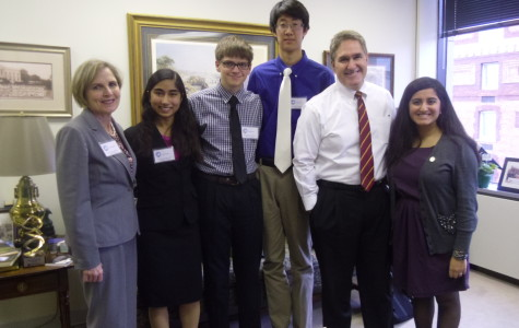 PTSA Government Relations chair Cheryl Buford, seniors Nalini Singh and Alec Brenner, freshman James Park and senior Saloni Chaswal met Delegate J. Randall Minchew on Capitol Day.