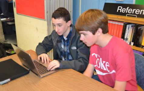 Freshmen Daniel Rubin and Patrick Ryan spent multiple lunches researching in the library in preparation for the High School Academic Business Competition.
