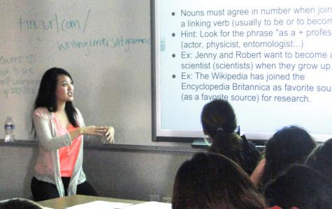Senior Michelle Wang explains noun agreement concepts to underclassmen preparing for the SAT.