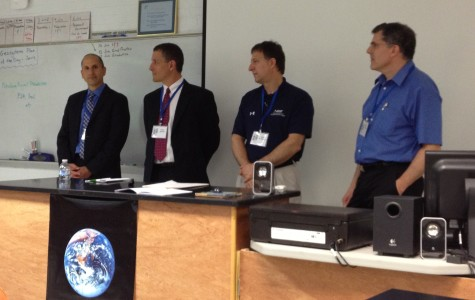 Alan Miller, Peter Rochford, Lloyd Whitman and Brian Becker introduce themselves to the students in the