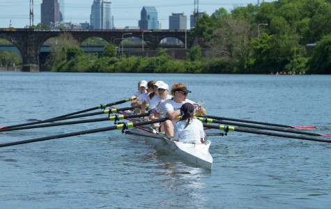 The women's first varsity boat prepares to race at the Stotesbury Cup on May 17.