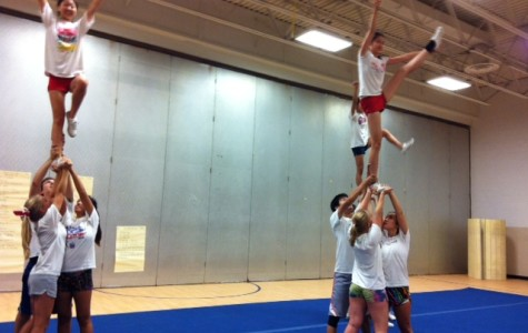 Varsity cheer has already been practicing for several weeks to prepare for districts.