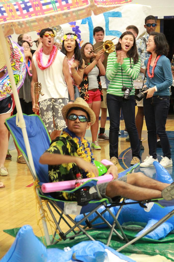 Students deck out for a Hawaiian-themed spirit day