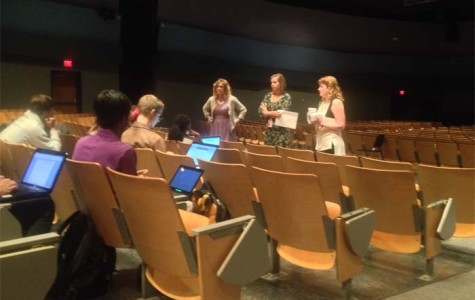 Counselors met with National Merit semifinalists in the auditorium.