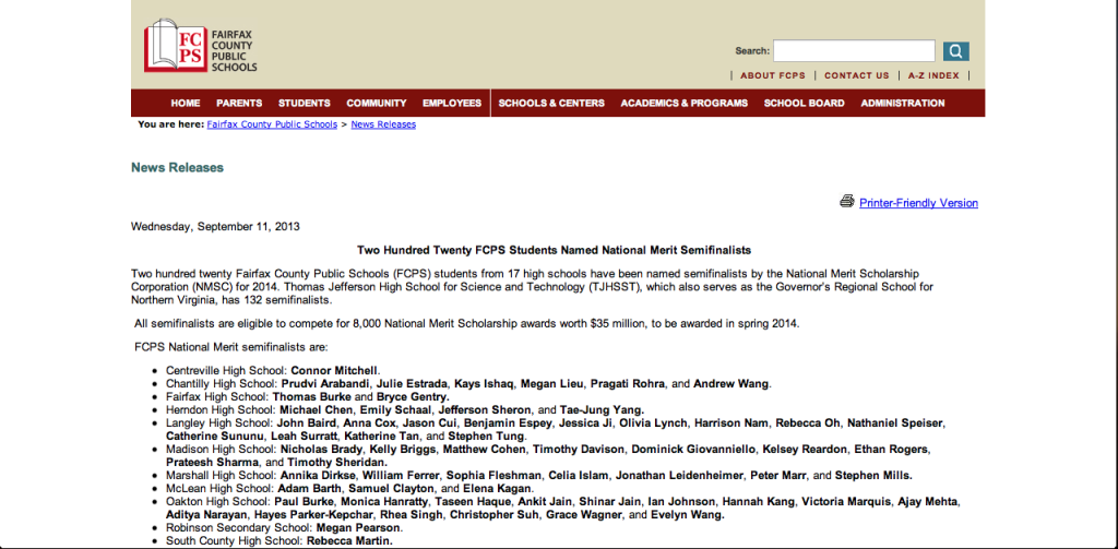 Screenshot from the Fairfax County Public Schools' 2013 press release.