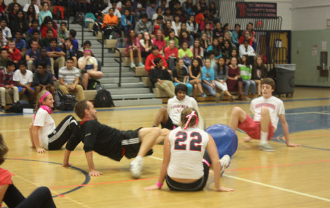 Jefferson students battle against their teachers to win the crabwalk soccer match.