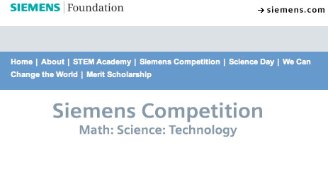 The Siemens Competition is one of the most acclaimed science competitions in the United States. Photo courtesy of www.siemens-foundation.org.