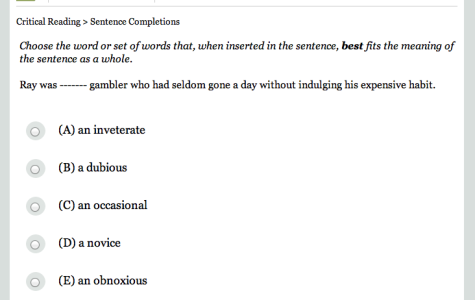 Questions such as these are typical on the PSAT and SAT. Photo courtesy of www.collegeboard.org.
