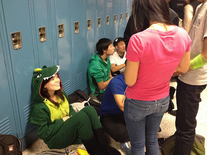 Many students dress up on Halloween in a variety of costumes.