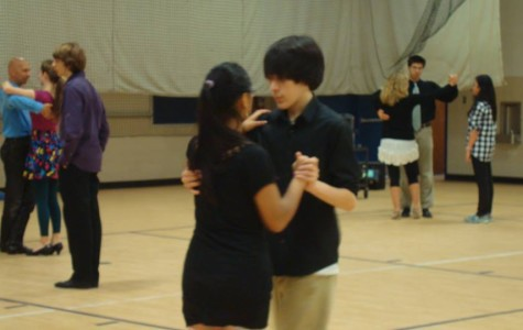 Students attending the Ballroom Dance Club practice their moves during eighth period.