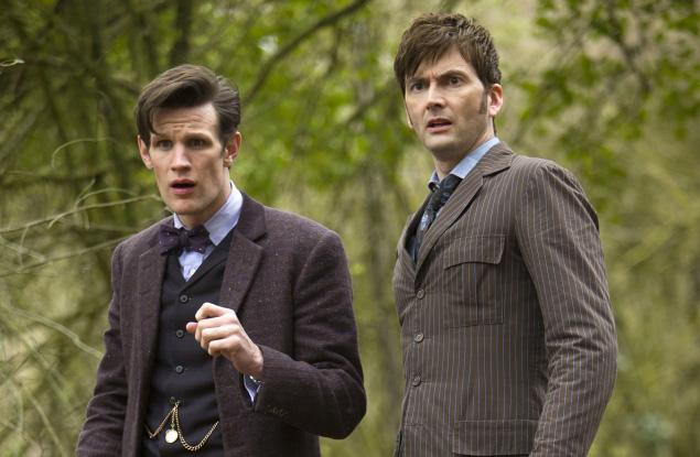 Still of the Eleventh Doctor (Matt Smith) and the Tenth Doctor (David Tennant) in
