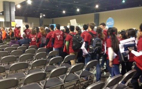 Jefferson students march into the spirit competition.