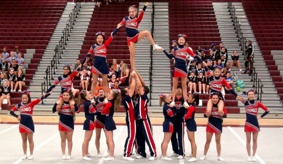 Jefferson%27s+cheer+squad+at+their+regionals+competition.