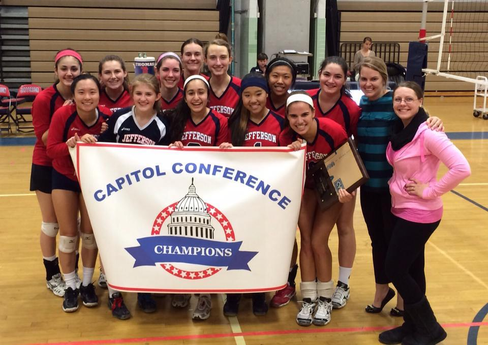 Jefferson's volleyball team after their Capitol Conference victory match.