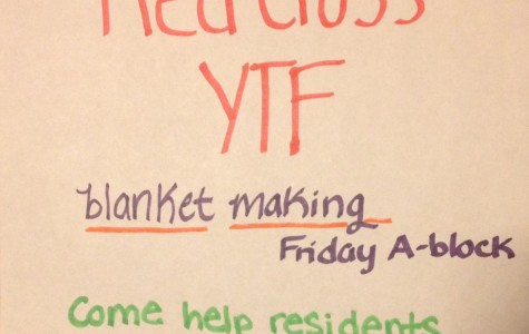 Red Cross YTF advertises for the blanket making activity.