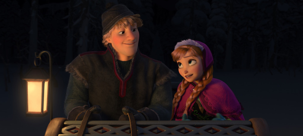 Kristoff (Jonathan Groff) and Anna (Kristen Bell) go off to find Queen Elsa.  Photo courtesy of Disney.
