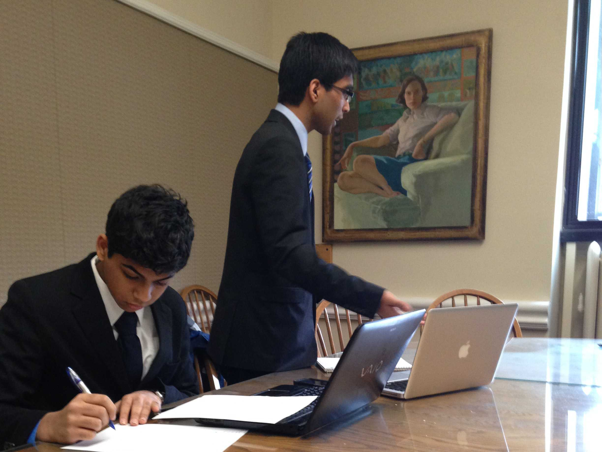 Sophomores Srijith Poduval (left) and Dhruv Gupta (right) are members of the Jefferson Public Forum debate team.