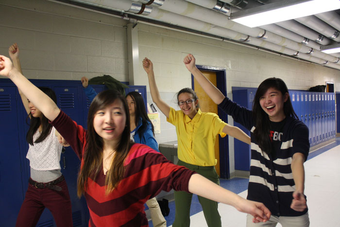Seniors Juliana Said, Vivian Le and Christine Tsou practice for Japanese Honor Society's I-Nite Performance.