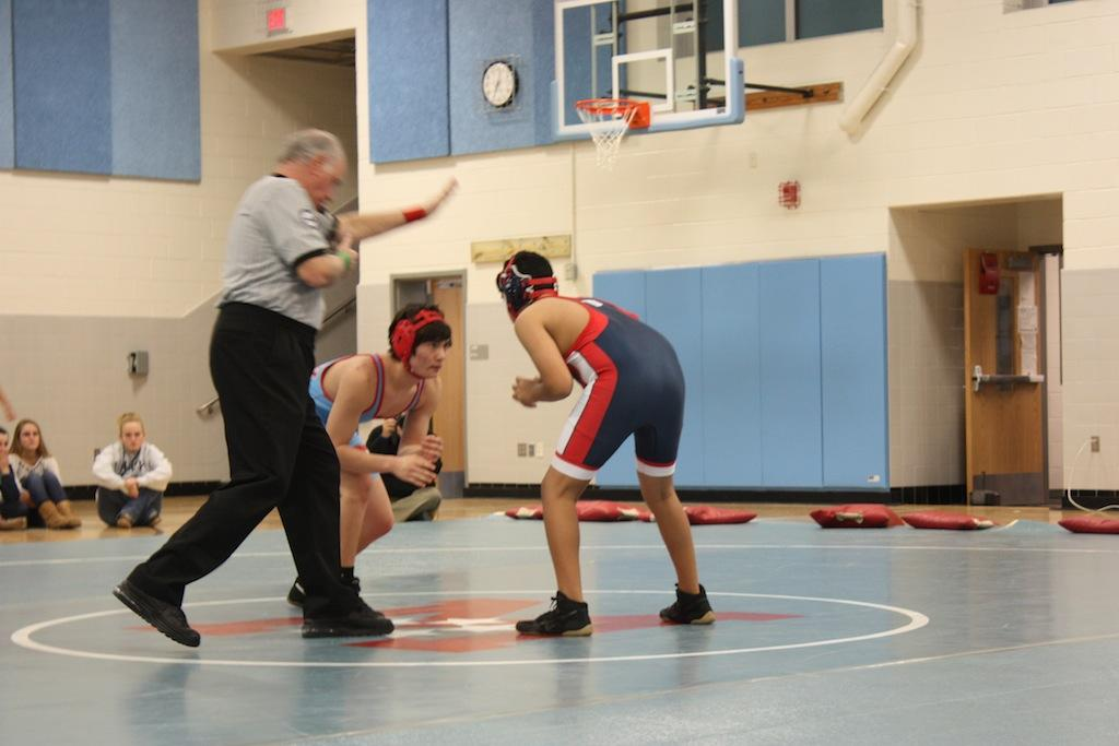 Freshman+Aaryan+Balu++wrestles+for+the+Jefferson+team+in+the+last+meet+of+the+season+at+Marshall+High+School.