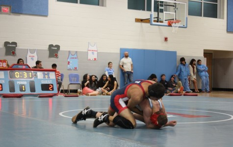 Senior Arvind Gupta wrestles for the Jefferson team in the last meet of the season at Marshall High School.
