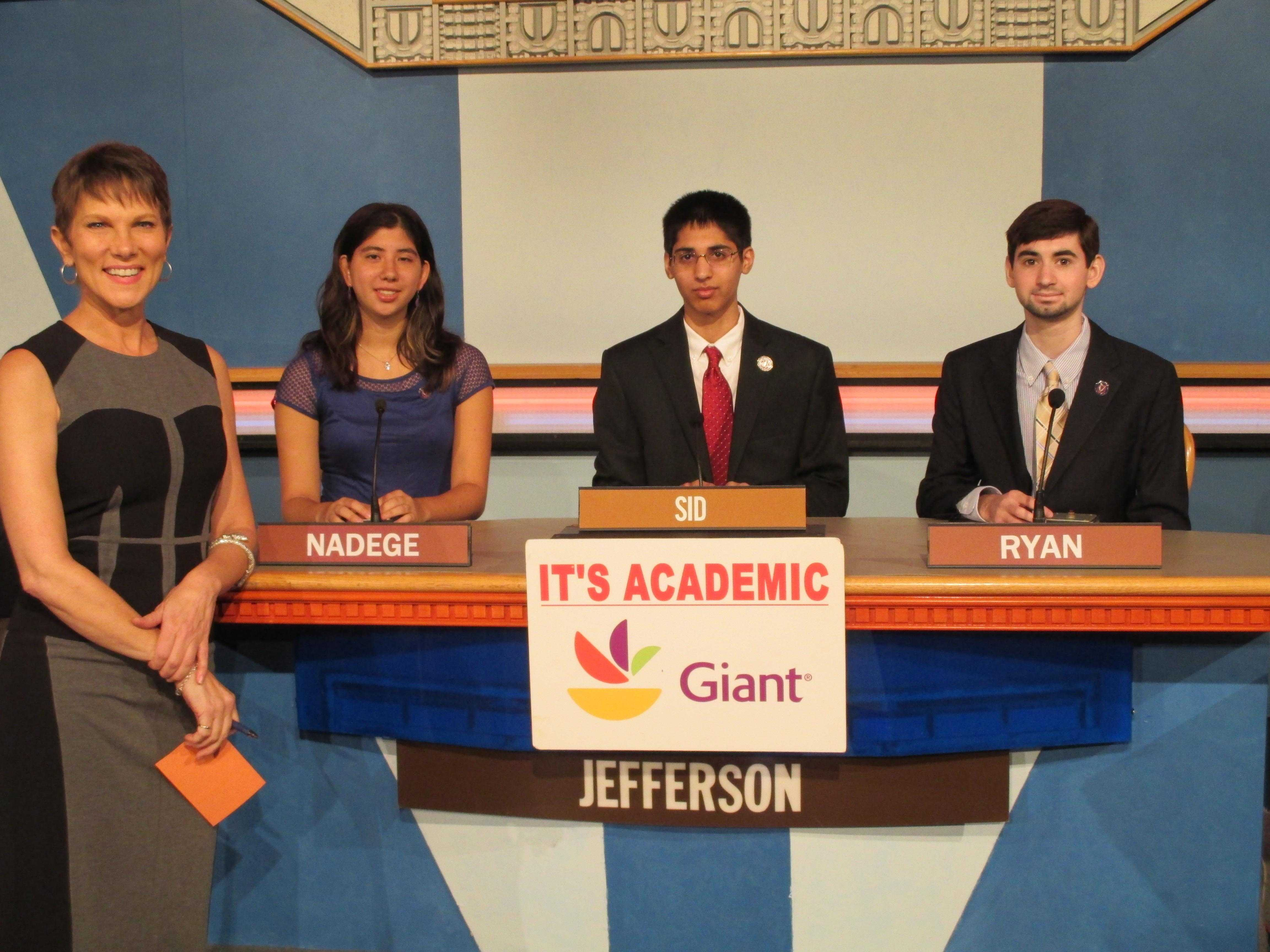 Left to right: Seniors Nadège Aoki and Sid Verma and sophomore Ryan Golant are three of the five members on the TJ Quizbowl team.