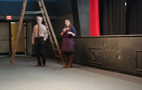 Thomas McNichol and Christina Ketchem talk to parents about the college process.
