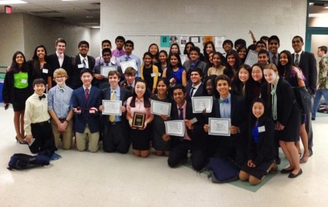 Members of the Model United Nations club after receiving the Secretary-General's award for Best Large Delegation.