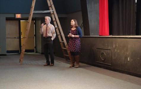 Counselors Christina Ketchem and Thomas McNichol present at the parent College Kick-Off