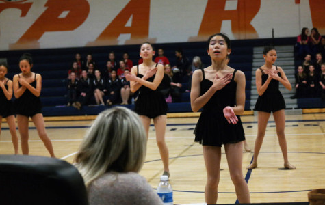Freshman Emma Zhang performs with the team as a part of the competition.