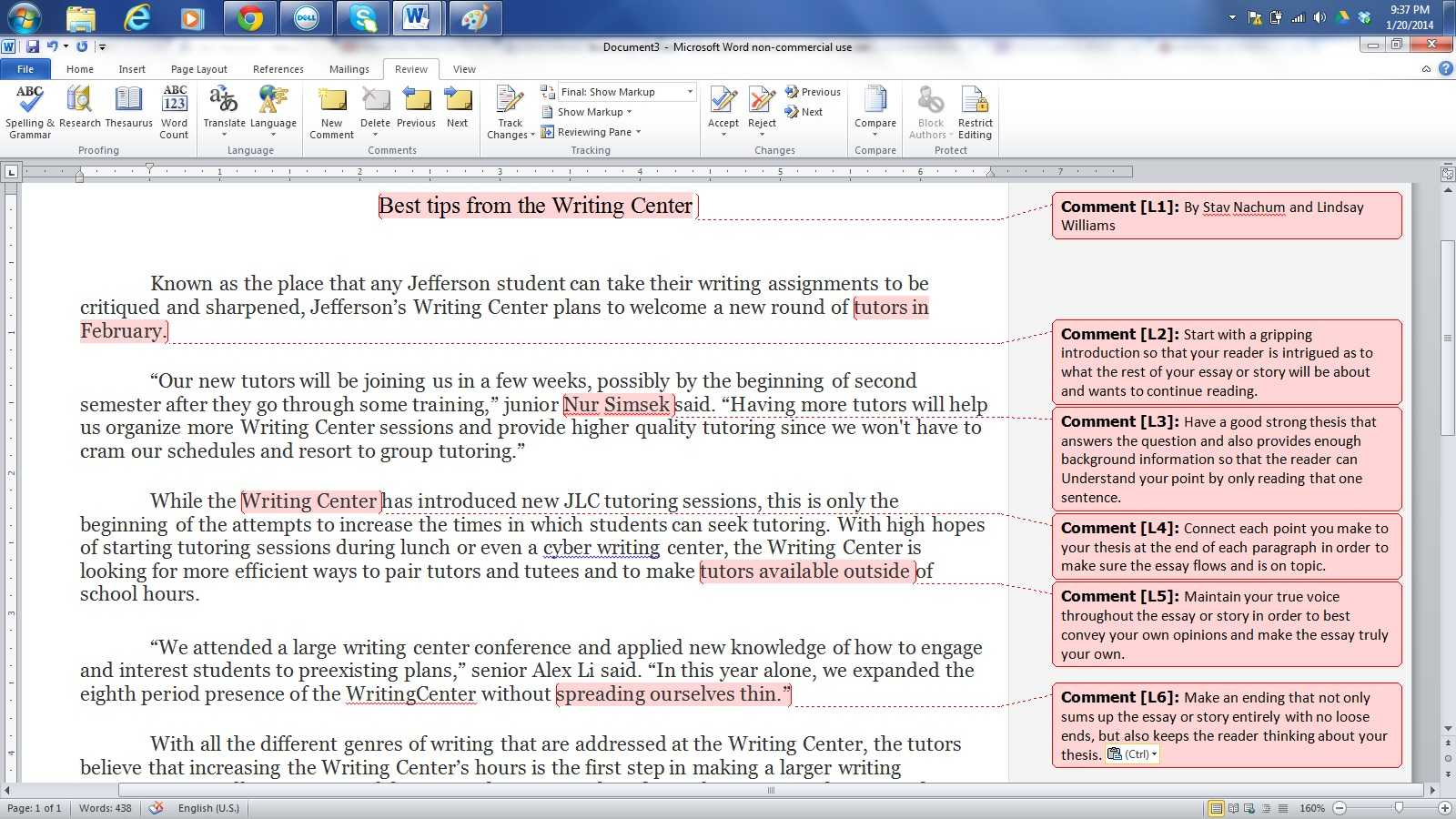 Click to see a sample of the tips you'll get at Writing Center.