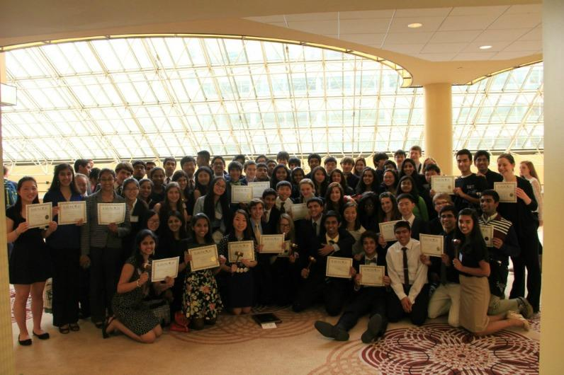 TJMUN poses after the closing ceremonies at ILMUNC.