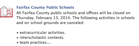 FCPS announced that Feb. 13 was going to be cancelled a little after 6:30 p.m..