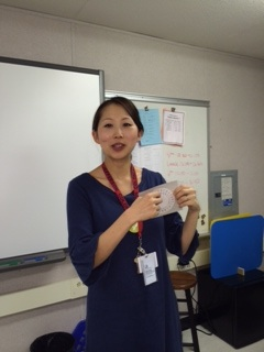 Cryptography teacher Hana Rhee teaches the class about Caesar ciphers on their first day of class.