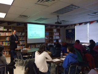 A representative from the United States Department of Agriculture tells students about summer internship opportunities.