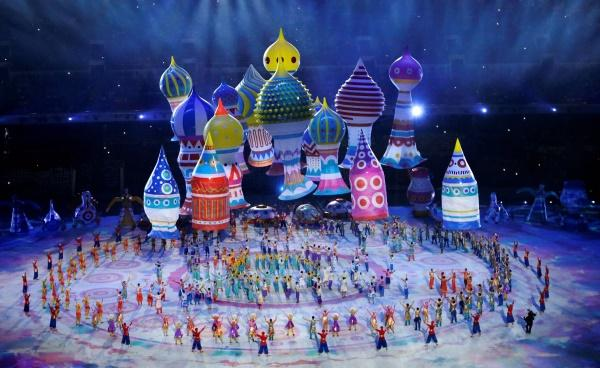 The famous Russian onion domes in the opening ceremony of the Sochi 2014 Winter Olympics. Photo courtesy of  http://www.sochi2014.com.