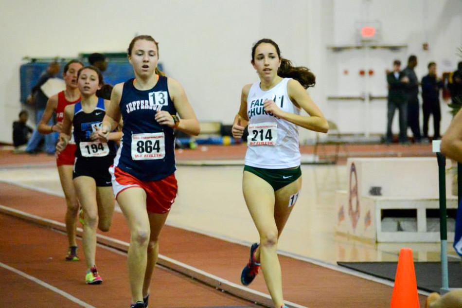 Junior Haley Stumvoll (number 13) races in the 3200-meter run, finishing seventh out of 13 runners.