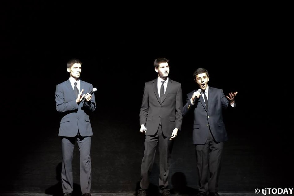 Seniors Zartosht Ahlers, Jacob Rosenblum and Anthony Skaff serve as the Masters of Ceremony at I-Nite 2014.