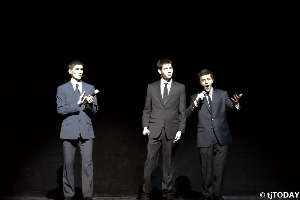 Seniors Zartosht Ahlers, Jacob Rosenblum and Anthony Skaff serve as the Masters of Ceremony at I-Nite 2014.