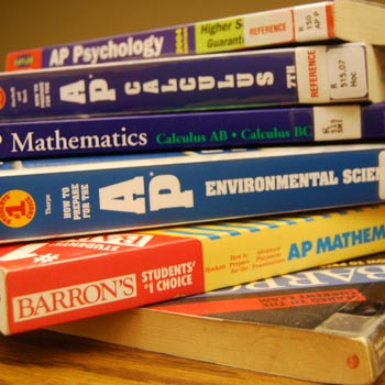 Students prepare for their Advanced Placement tests through a variety of preparation books and study materials.